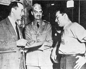 Robert Heinlein, L. Sprague de Camp, and Isaac Asimov in 1944