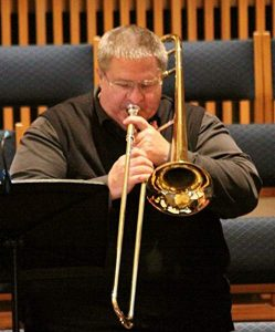 Rob Hampson playing the trumpet.
