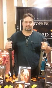 Christopher Woods at his booth